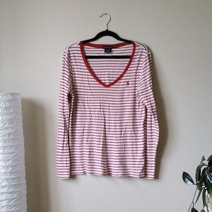 Polo Ralph Lauren Striped V Neck Long Sleeve Shirt